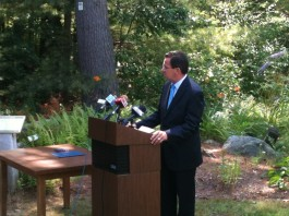 Governor Dannel P. Malloy speaking at the ceremonial signing of the state&#039;s new open space law. Photo copyright Connecticut Audubon Society