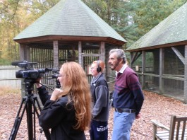 Samantha and Alexander Saalborn operate the cameras as Ray xx looks on. Photo Copyright Connecticut Audubon Society.
