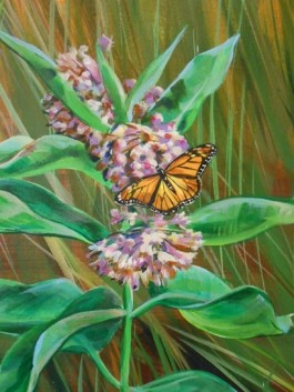 A monarch and milkweed, shown in this detail from a mural at our Pomfret Center, painted by Amy Bartlett Wright