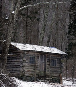 Edwin Way Teale's writing cabin in winter. Photo by Richard Telford