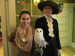 Milton the barn owl, a frequent attendee at Connecticut Audubon Society special events, is pictured with Teacher/Naturalist Jillian Maher, and Kathy Van Der Aue in period dress. Milton, one of Audubon's resident educational birds, is a majestic, living reminder of why Mabel's legacy is important to honor and preserve.