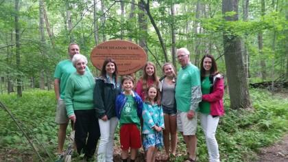 The Flanagan family dedication at Deer Meadow Trail in memory of John Patrick Flanagan.
