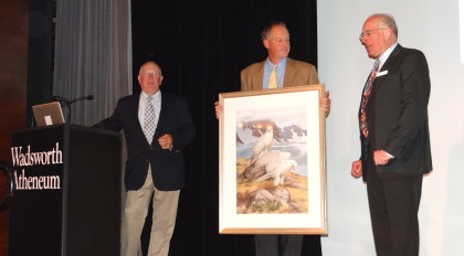 Incoming Chairman Peter Kunkel, left, and CAS President Alex Brash present outgoing Chairman Ralph Wood with a Roger Tory Peterson print in appreciation of his three years of service as chairman of the board. Connecticut Audubon Society photo by Mike Lauterborn.