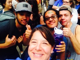 Michelle Eckman, foreground, takes a selife with 3 of 20 Common Ground High School students who marched in the People's Climate March on September 21, 2014.