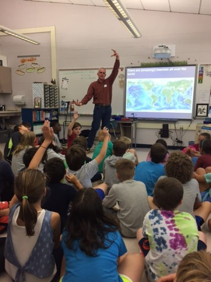 """Dr. Thieler at a """"Meet the Scientist"""" session in Old Lyme."""