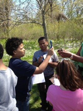 Fourth graders from Putnam Elementary in Meriden gauge the wind in a Science in Nature class at the Center at Glastonbury. Photo copyright Connecticut Audubon Society.