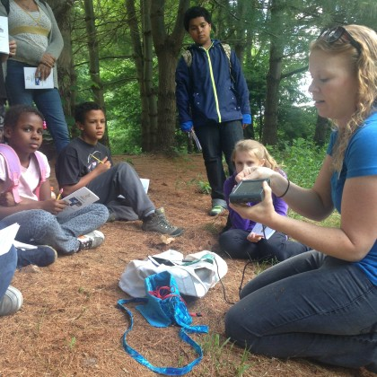 Science in Nature teacher Beth Timpe shows students from Washington Elementary in Manchester how to measure air and soil temperature. Photo copyright Connecticut Audubon Society